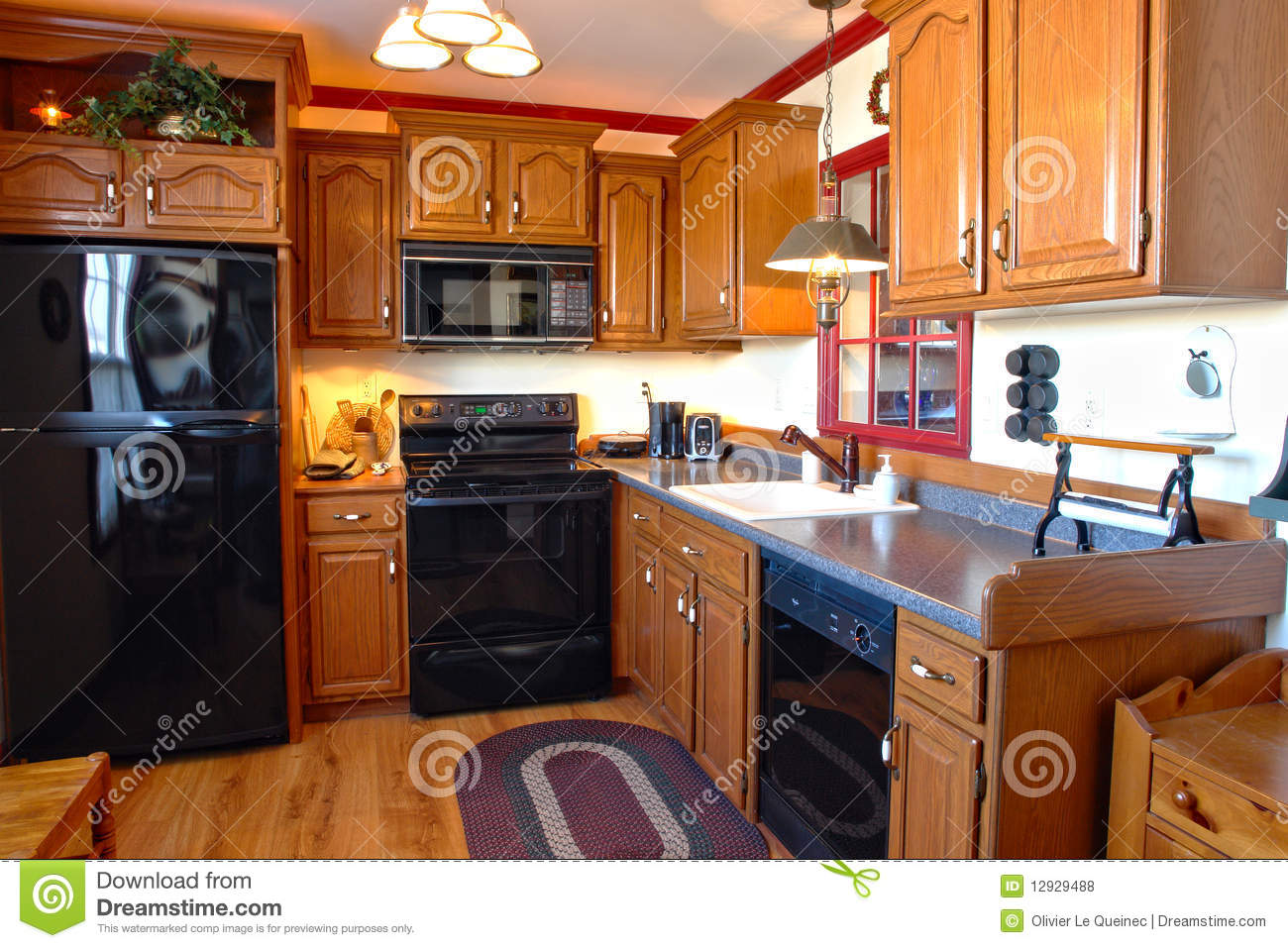 Kitchen In Traditional Style American House Stock Photo