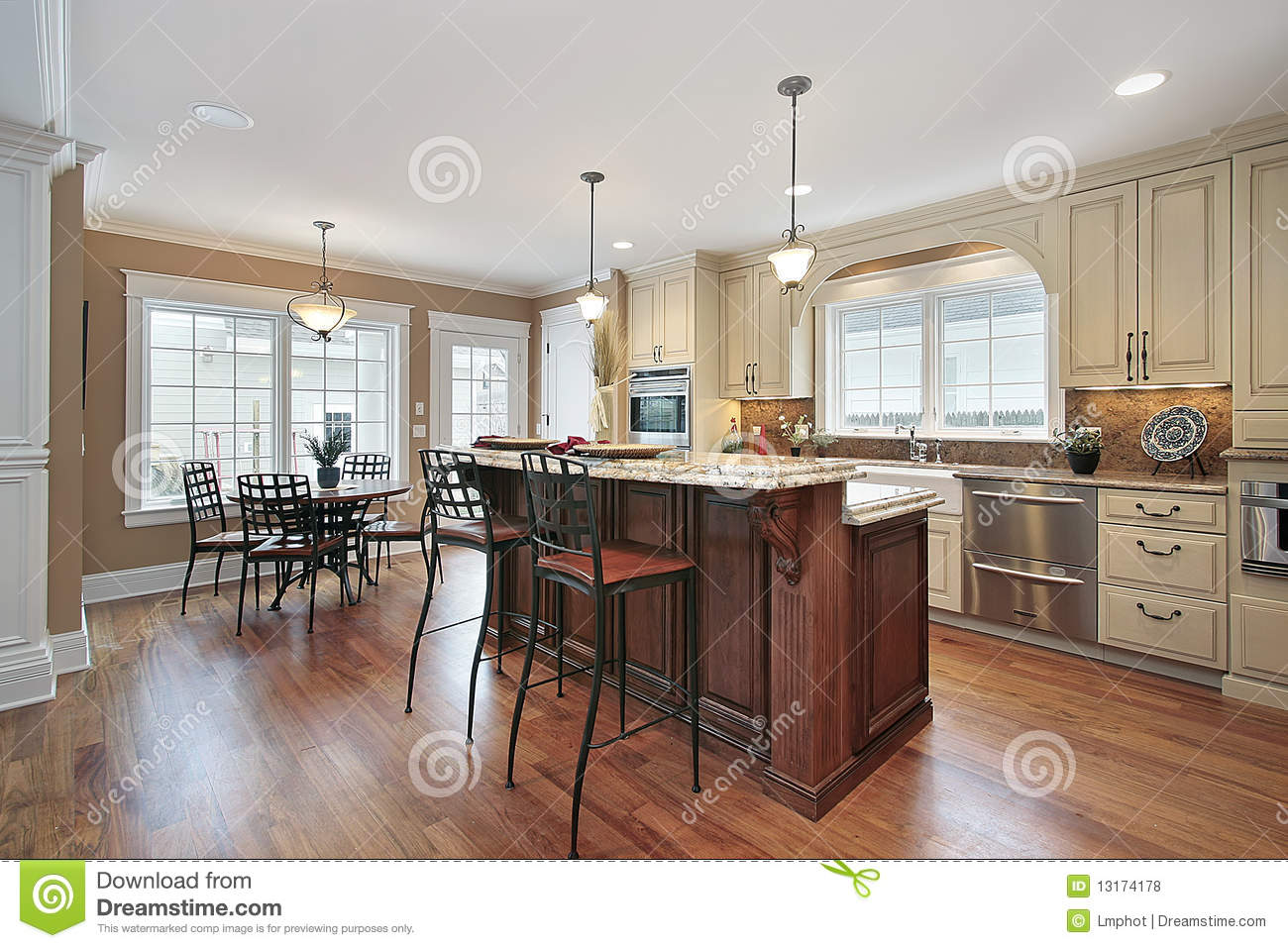 Kitchen With Two Tiered Island Stock Photo Image Of