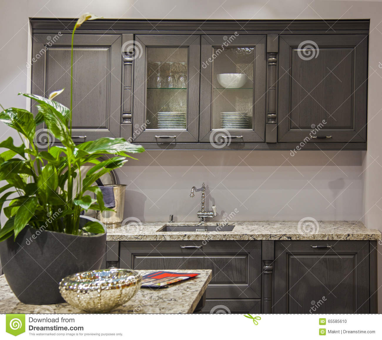 Kitchen unit in the interior