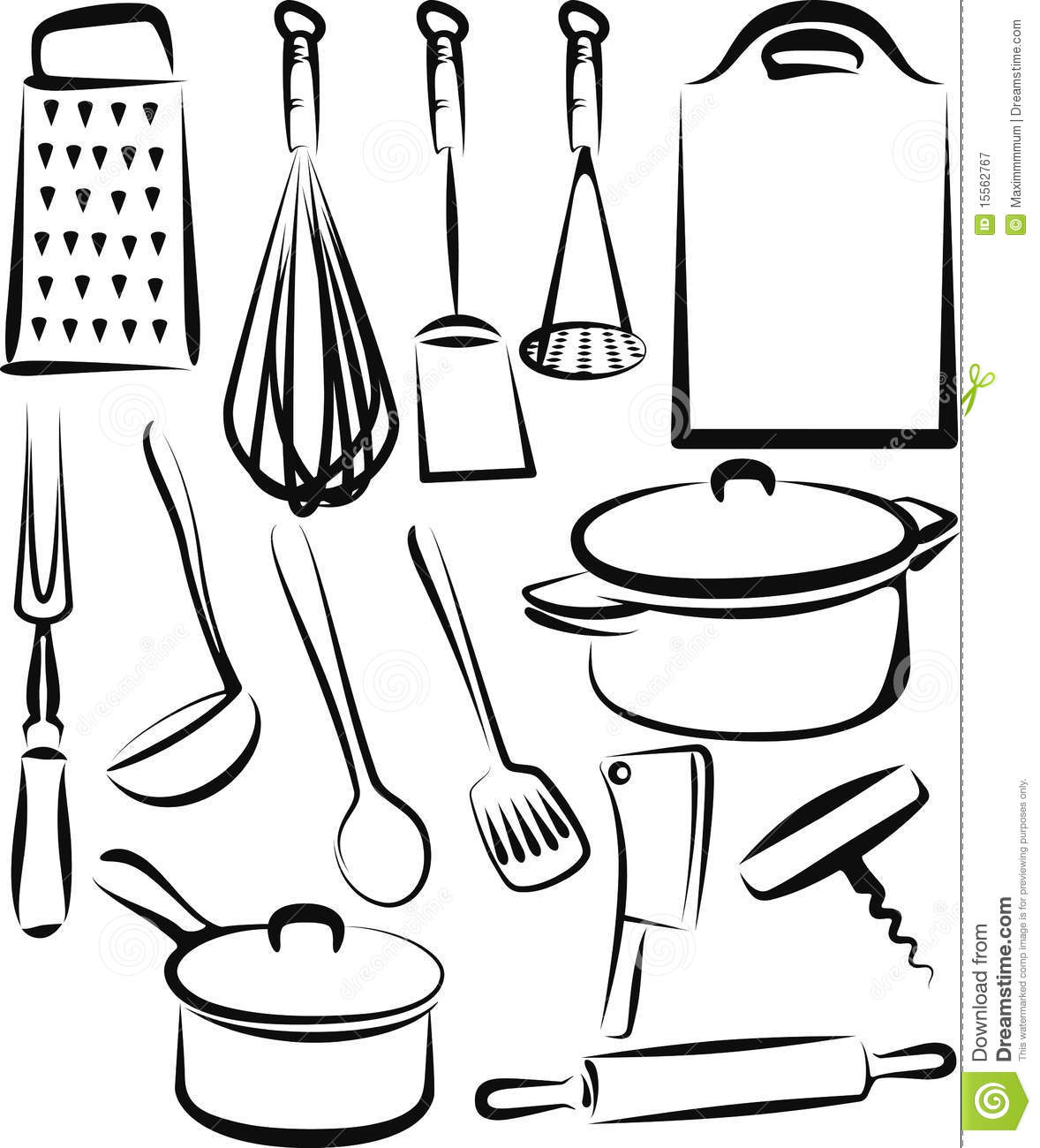 Kitchen utensil stock vector illustration of icon group 15562767 - Elenco utensili da cucina ...