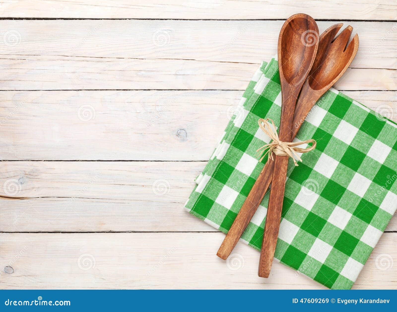 Kitchen Utensil Over White Wooden Table Background Stock