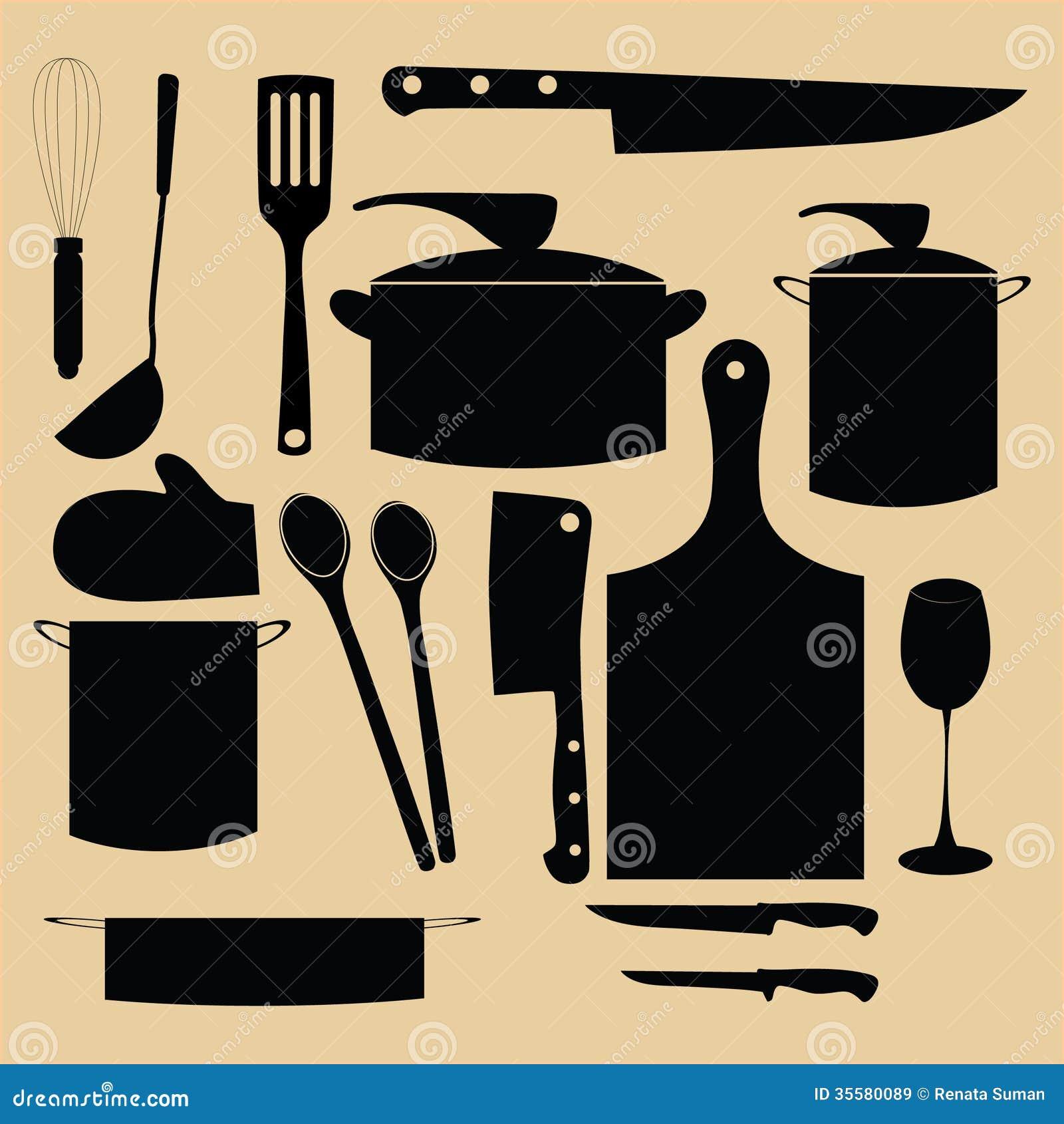 Kitchen Utensil Retro Design Illustration Stock Vector