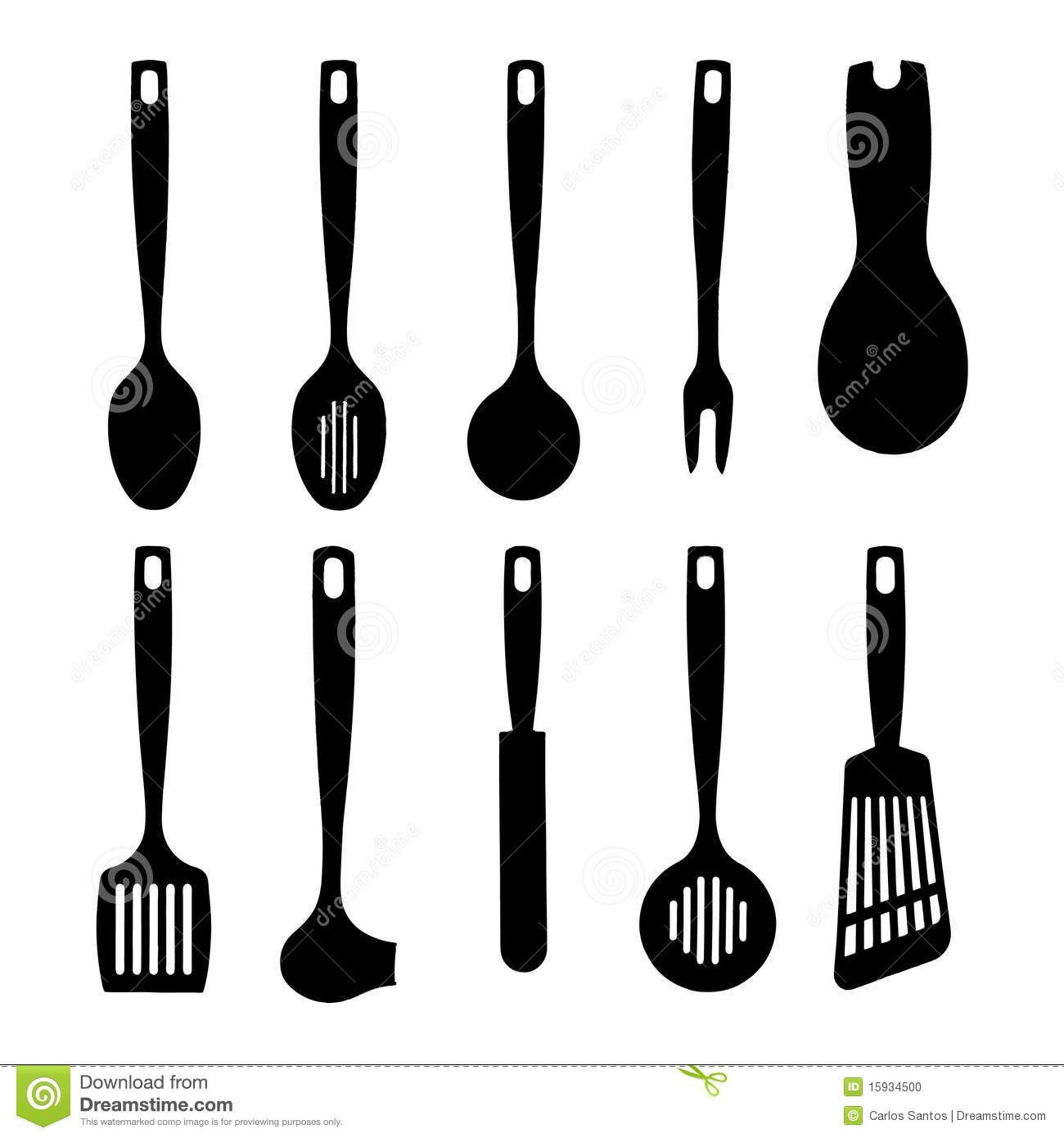 Image Gallery kitchen utensils silhouette