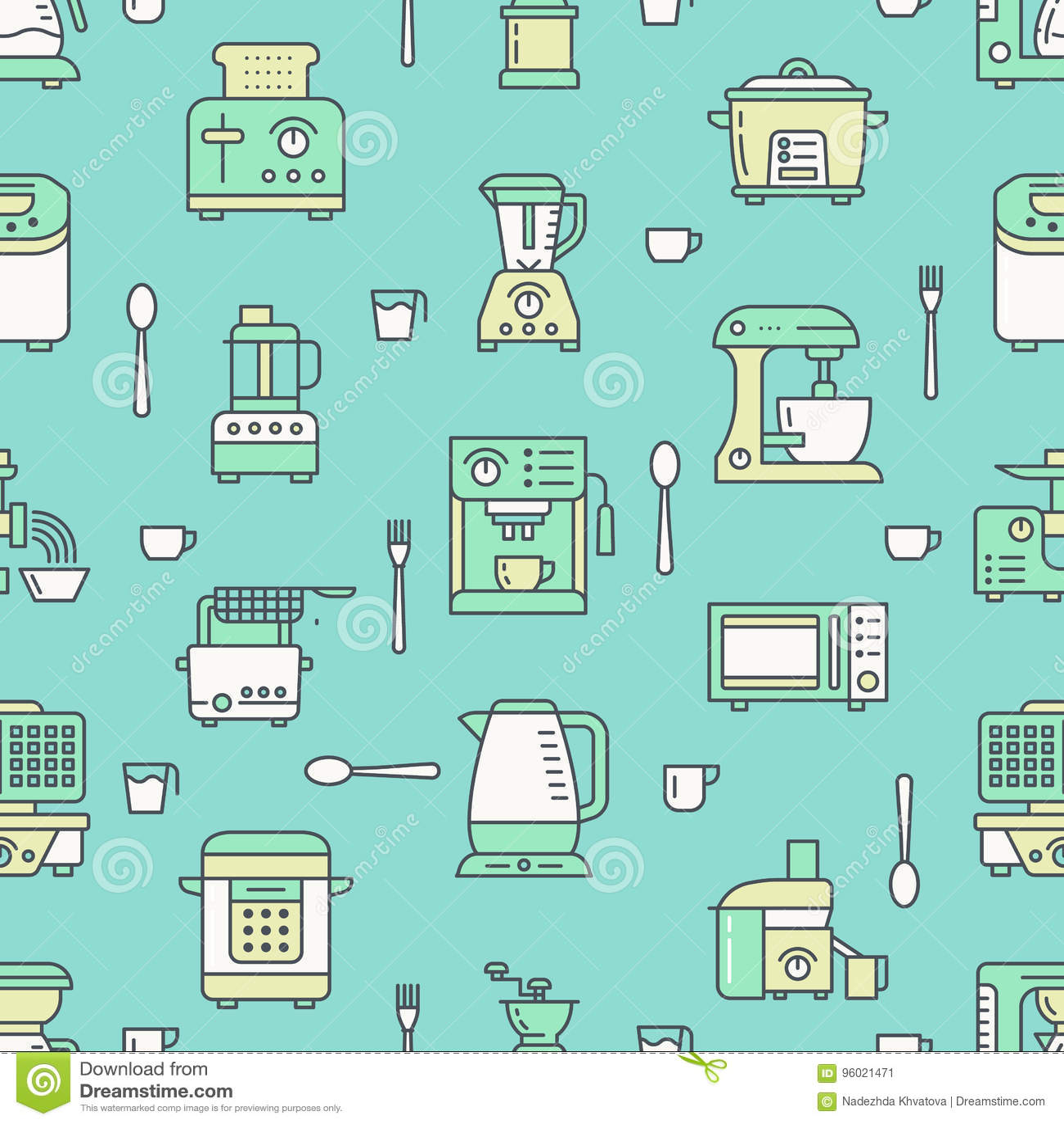Kitchen Utensil, Small Appliances Green Seamless Pattern With Flat ...