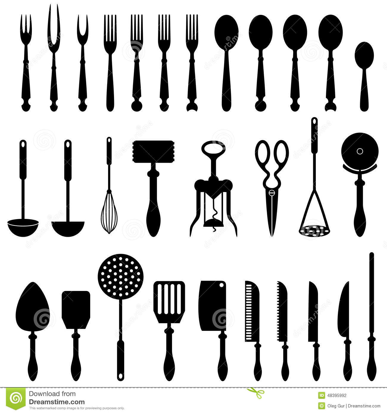 kitchen utensil stock vector image 48395992. Black Bedroom Furniture Sets. Home Design Ideas