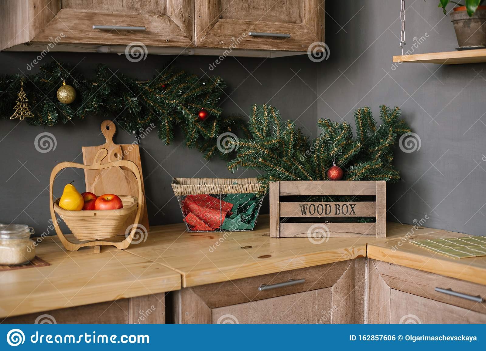 Kitchen Utensils And Accessories In The Kitchen Decorated For Christmas Stock Photo Image Of Furniture Light 162857606
