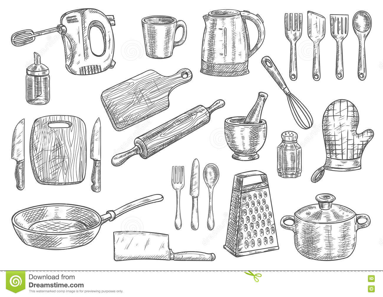 Uncategorized Kitchen Utensils And Appliances kitchen utensils and appliances isolated sketches stock vector sketches