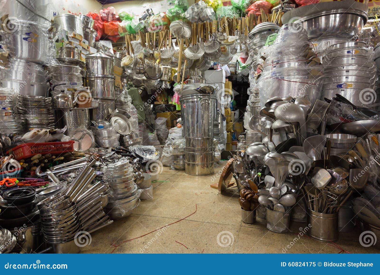 kitchen utensils asian shop stock photo