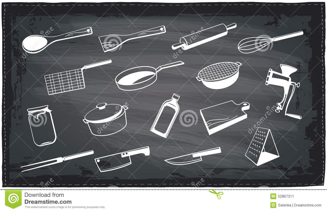 Kitchen Utensils Chalkboard Design Stock Vector Image 52867311