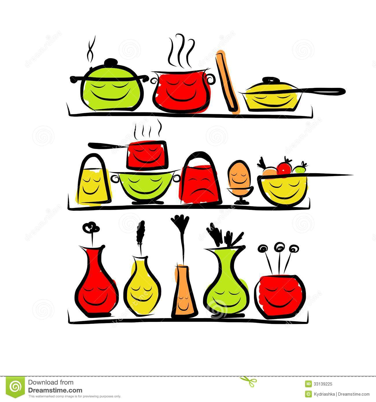 Kitchen Tools Drawing Beautiful Kitchen Tools Drawings With Decor