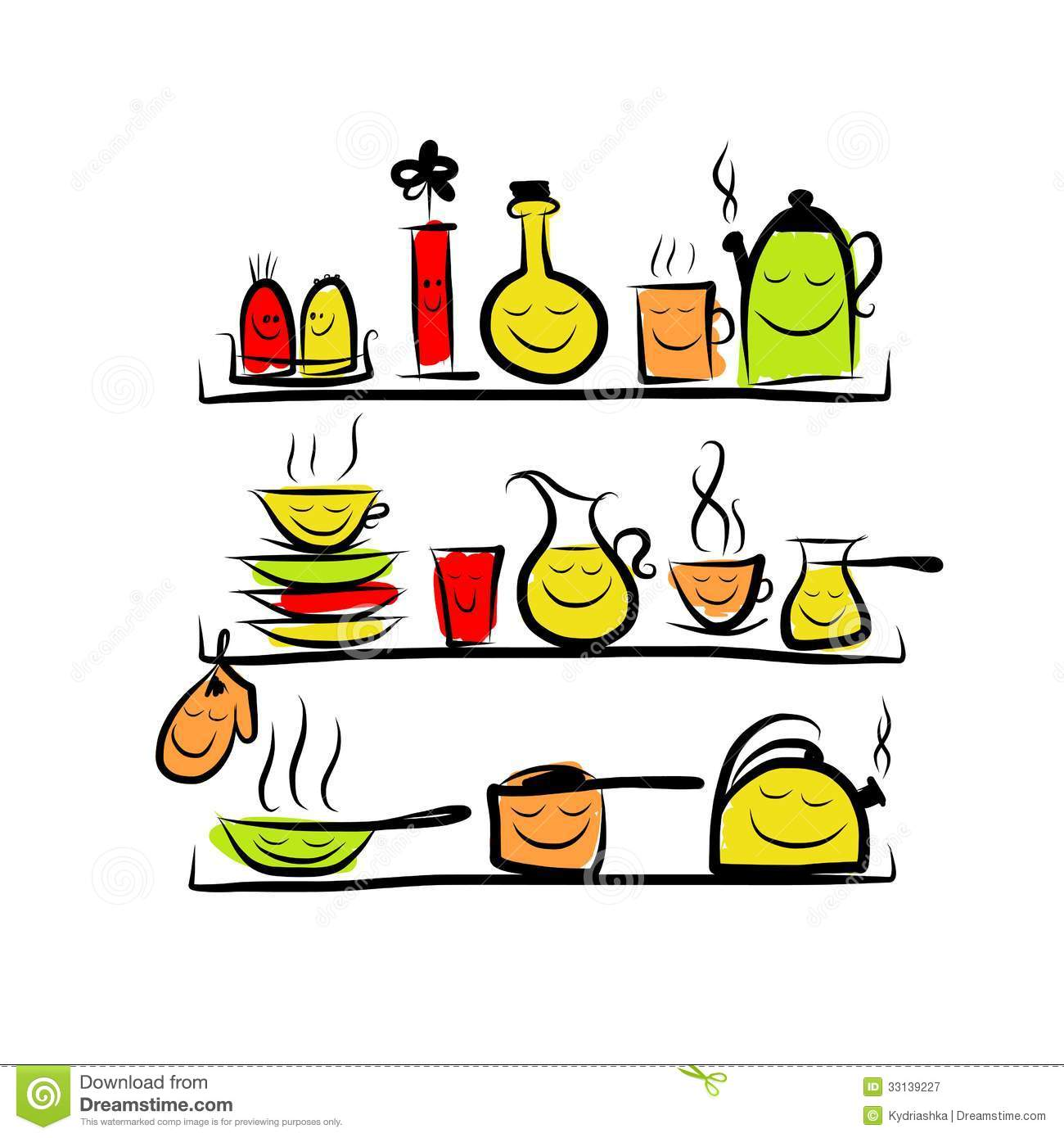 Kitchen utensils characters on shelves sketch royalty for Dibujos para cocina