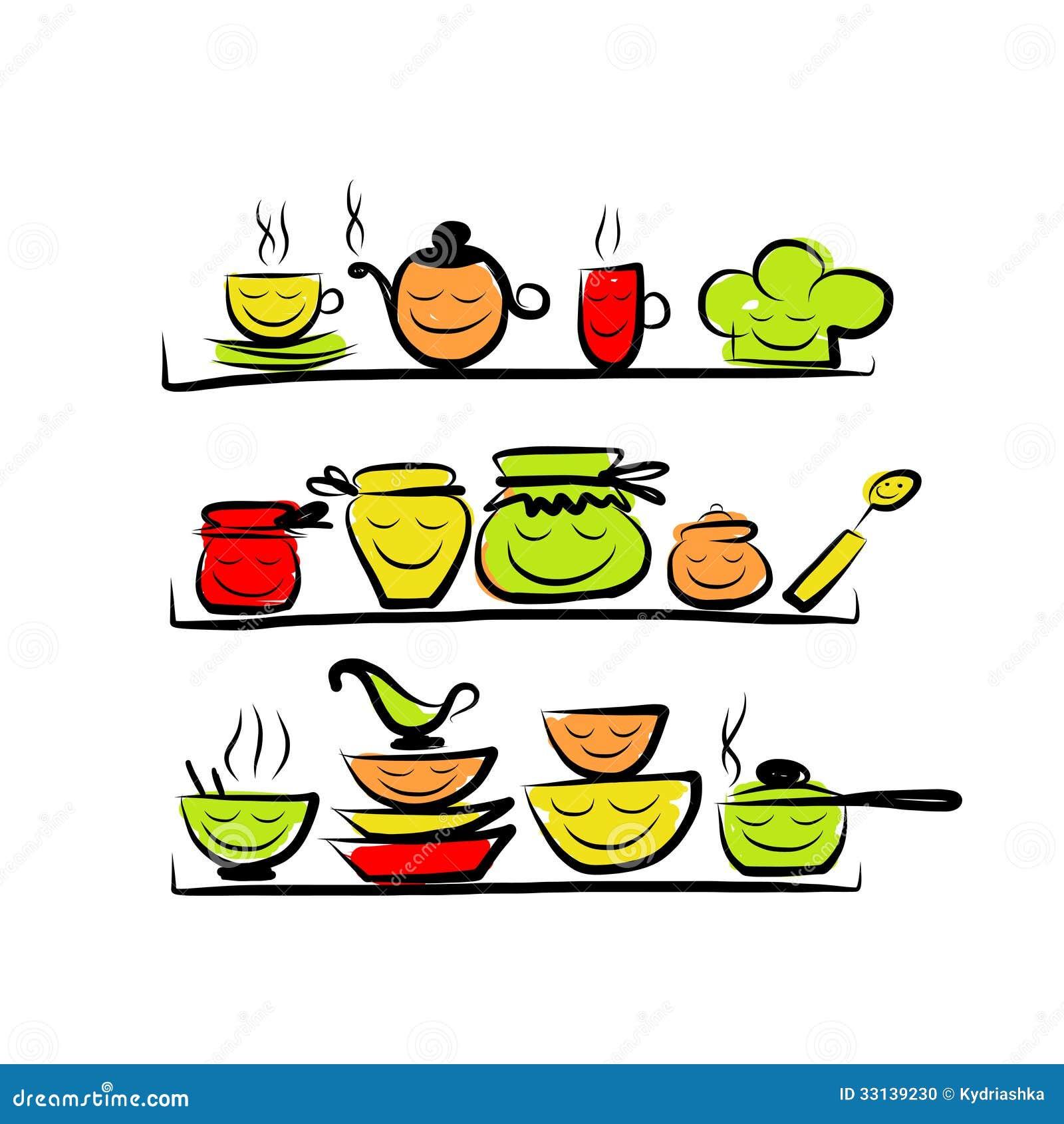 Kitchen utensils characters on shelves sketch stock photo - Estantes de cocina ...