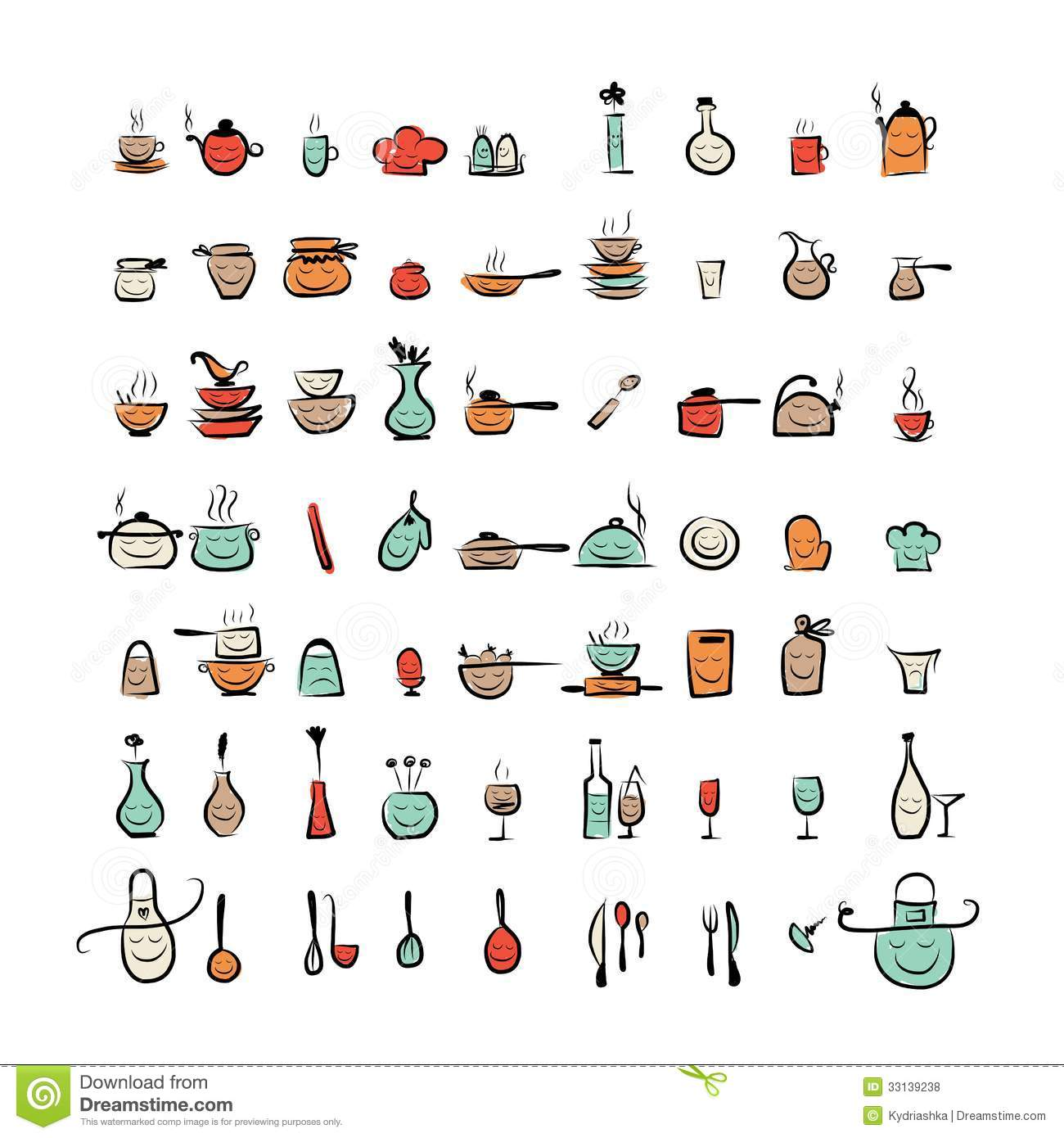 Kitchen utensils characters sketch drawing icons royalty - Materiel de cuisine en anglais ...