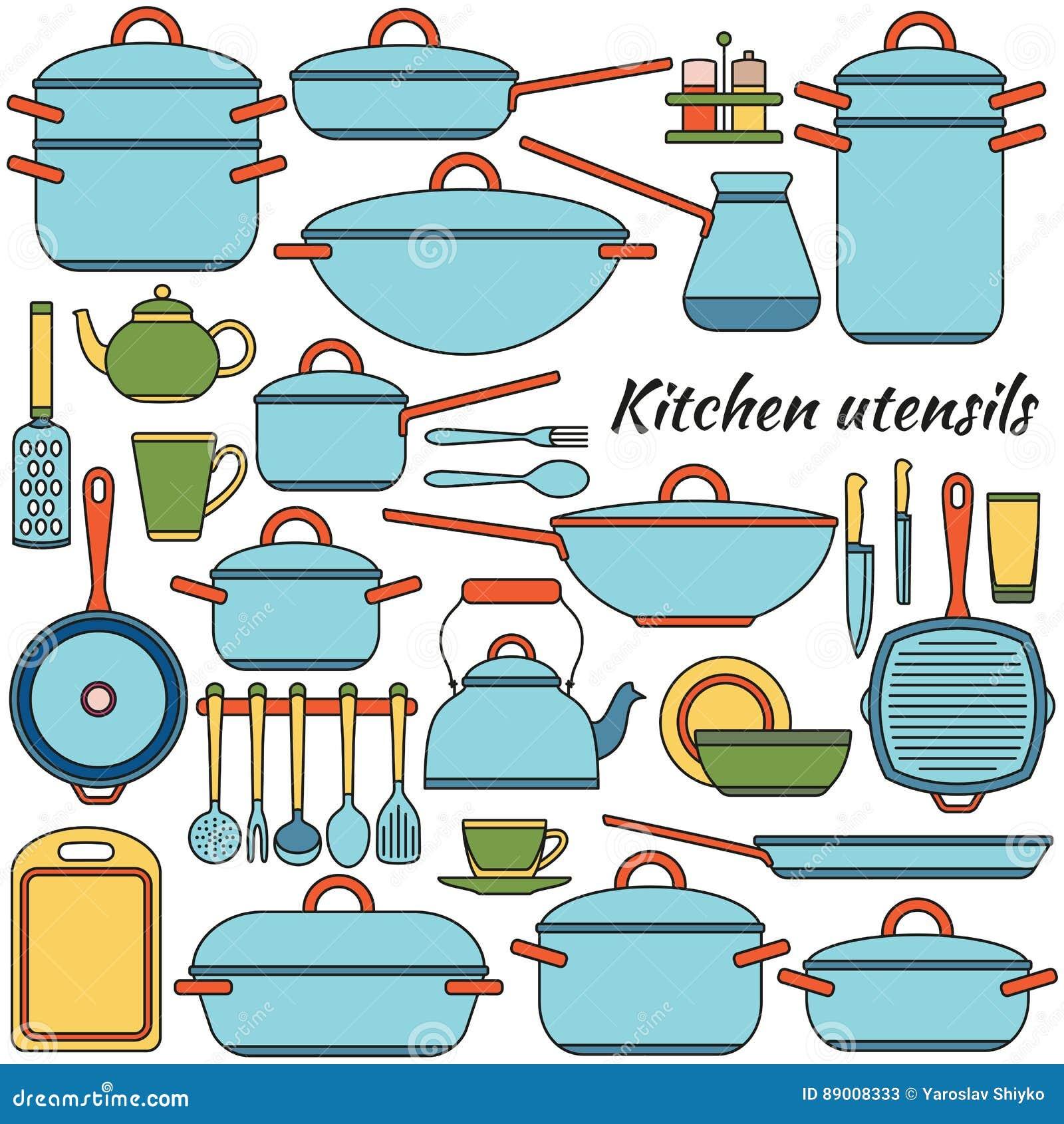 Kitchen utensils colorful icons set vector illustration for Kitchen set vector