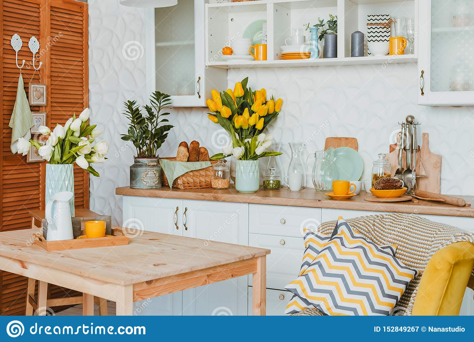 Kitchen Utensils Concept Of Home Decor Kitchen Decorated With Flowers Front View Stock Image Image Of Colorful Decoration 152849267