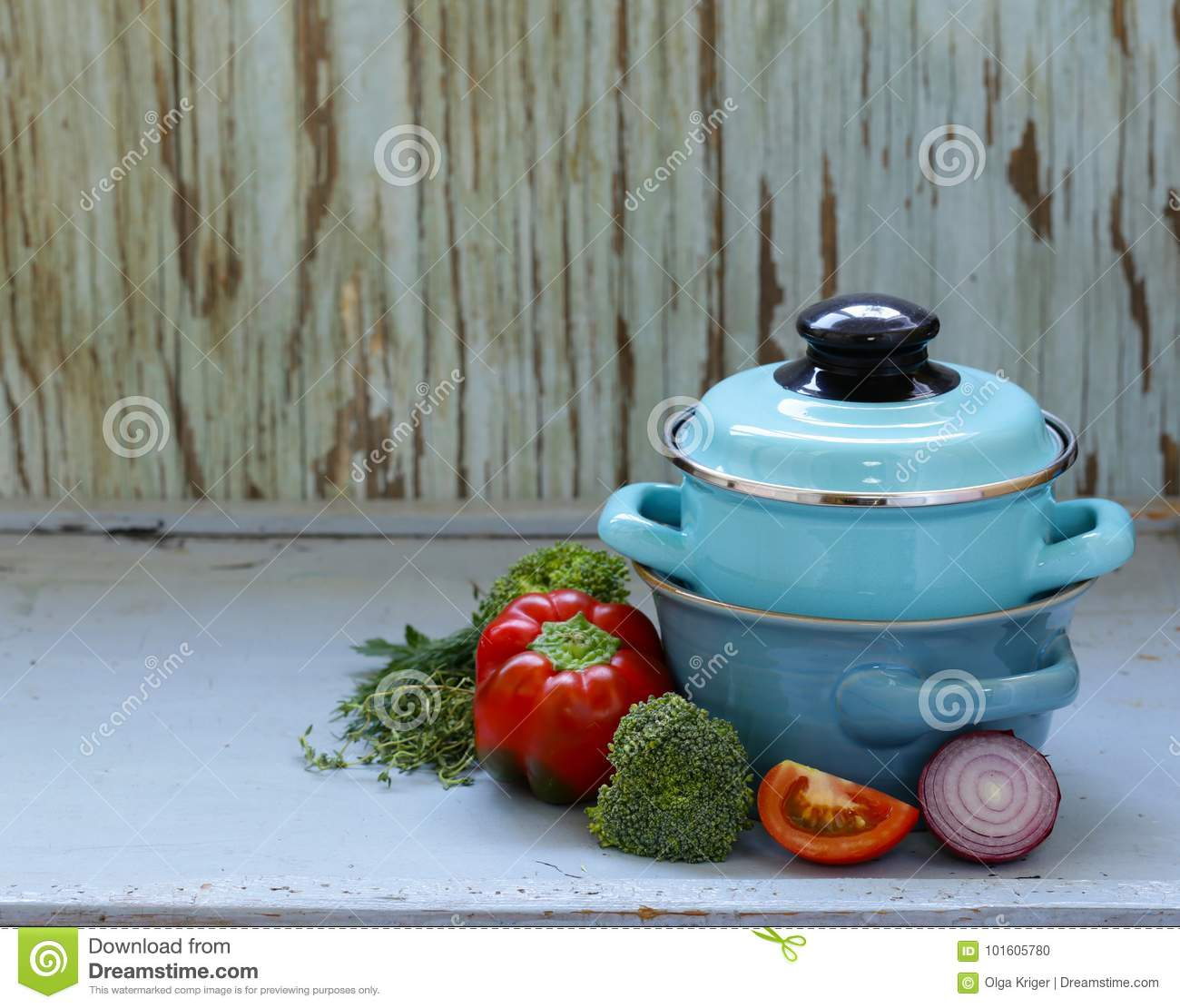 Kitchen Utensils, Cooking Pans On A Wooden Background Stock Photo ...
