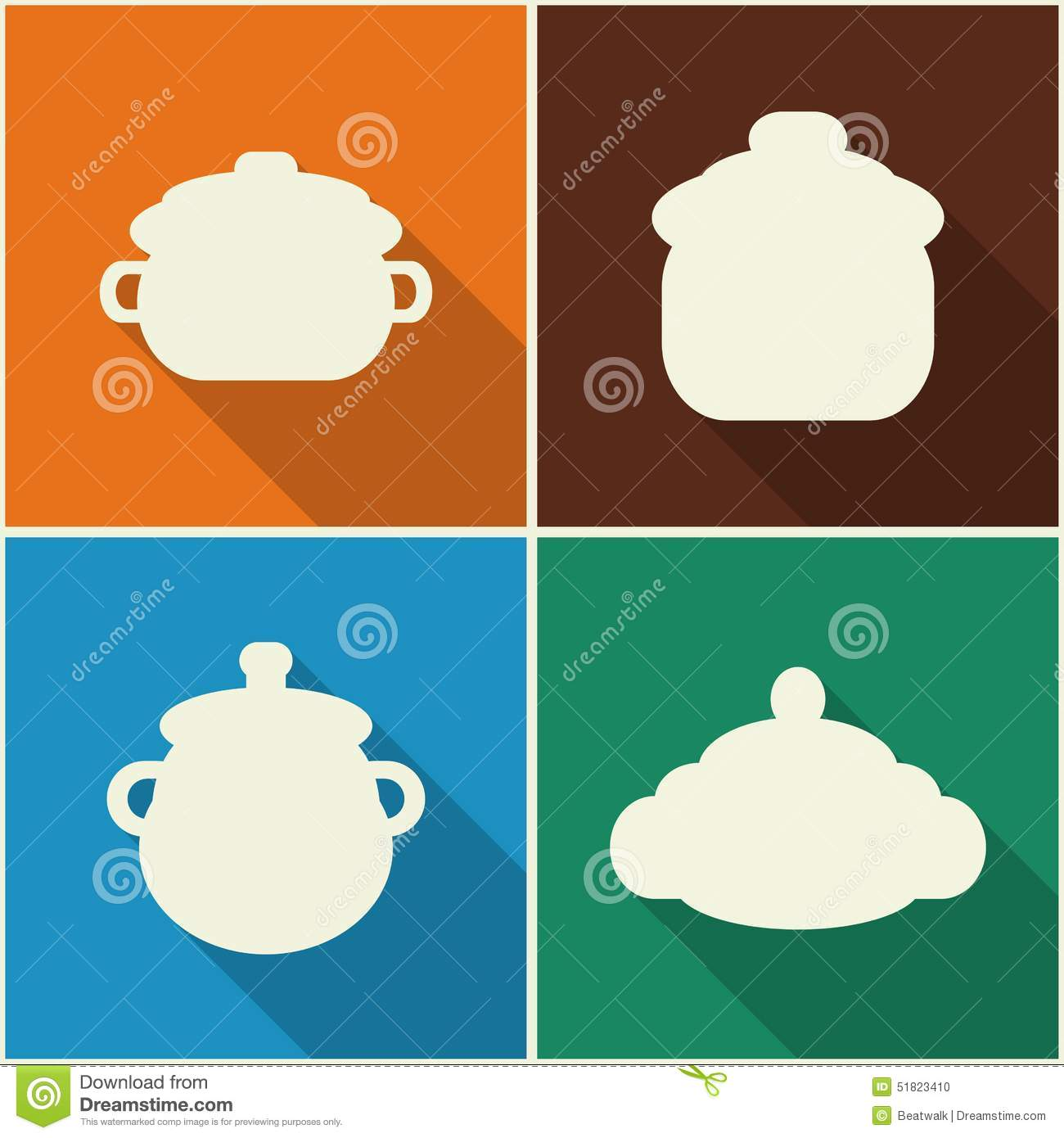Kitchen Utensils And Cookware Flat Icons Set Stock Vector Image 51823410