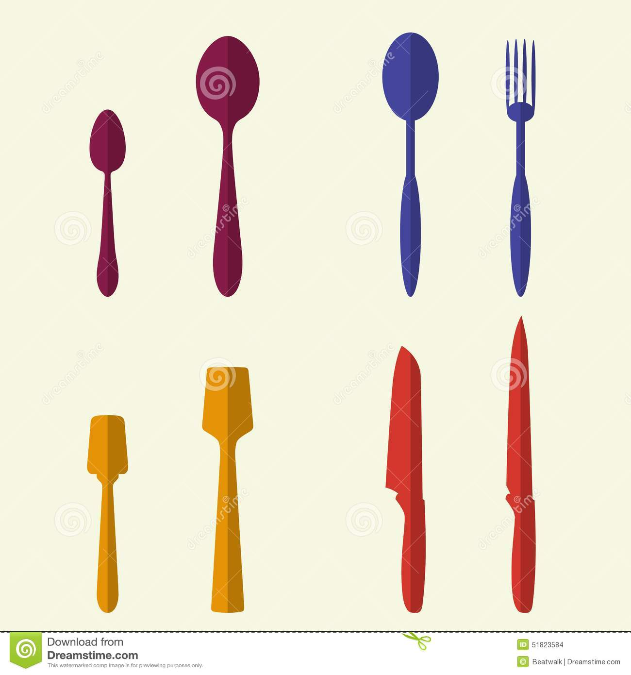 Kitchen Utensils And Cookware Flat Icons Set Stock Vector Image 51823584