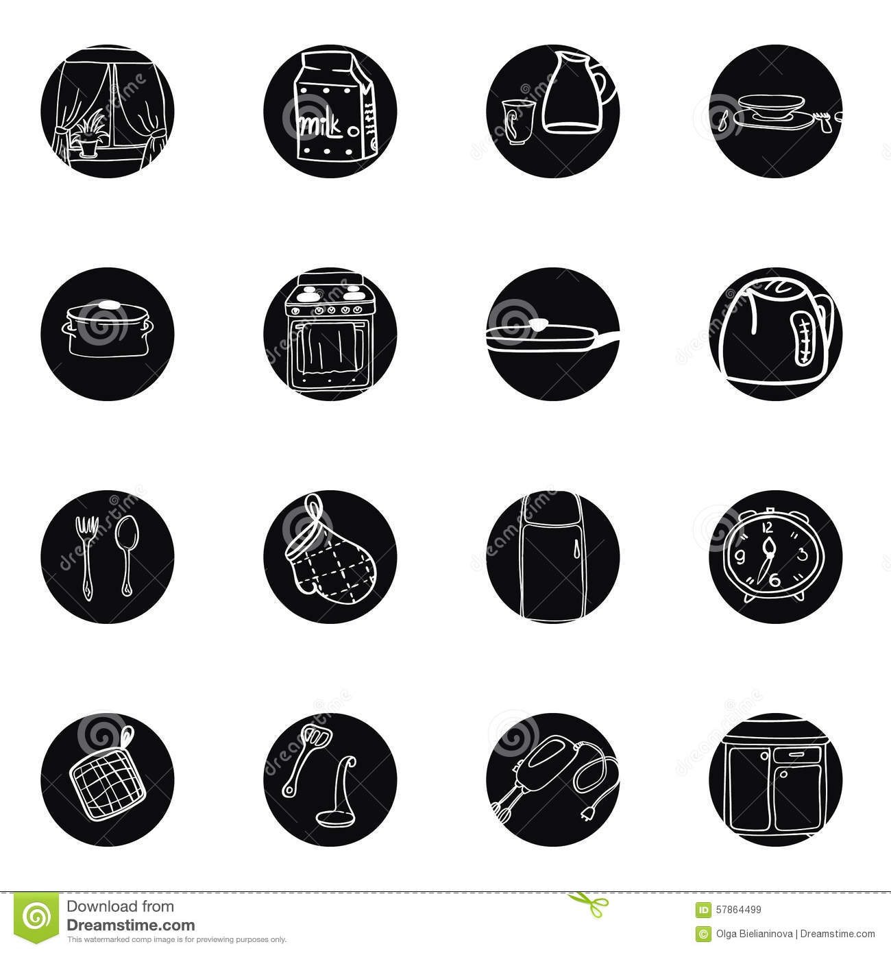 Set Of Black Kitchen Icons Utensils Stock Vector: Kitchen Utensils And Cookware Hand Drawn Black And White