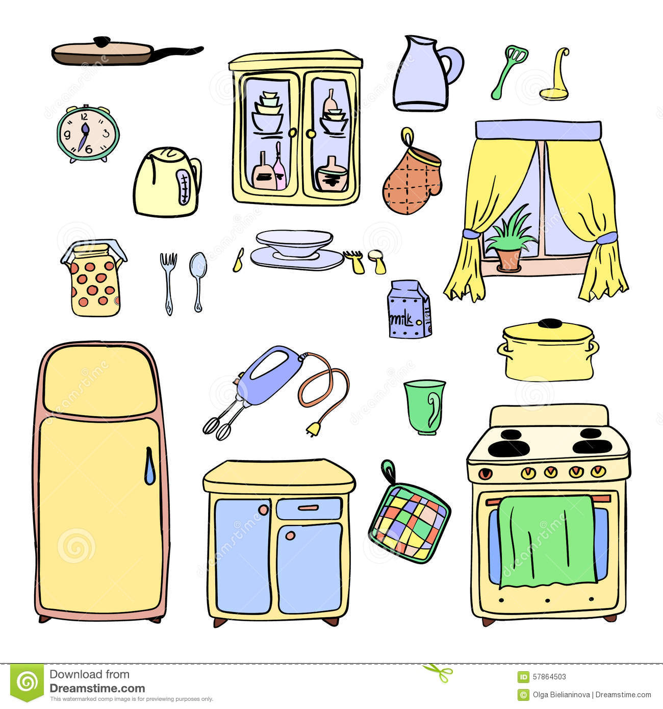 kitchen utensils and cookware hand drawn icons set cooking tools and
