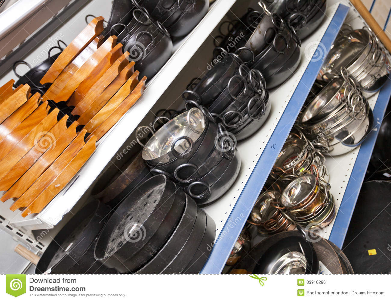 Charmant Kitchen Utensils On Display In Store Royalty Free Stock Image