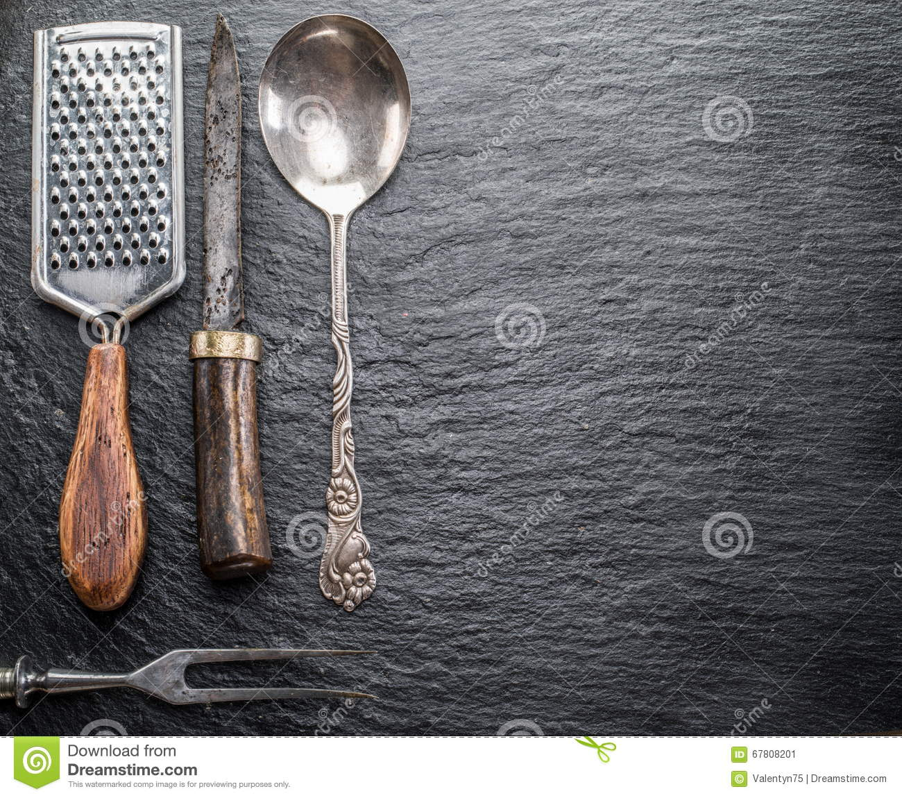 Kitchen Utensils On A Graphite Background Stock Photo Image