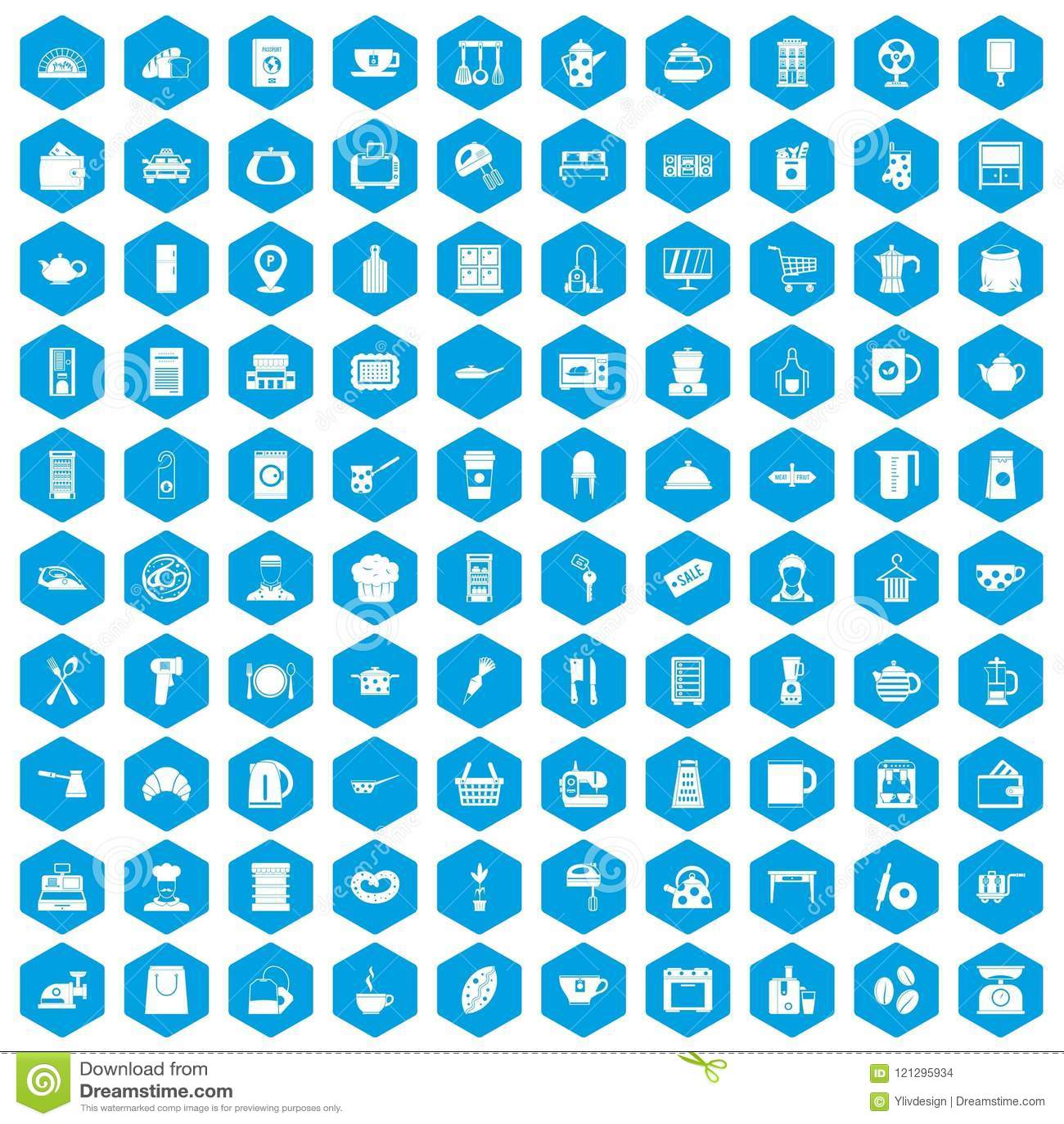 100 Kitchen Utensils Icons Set Blue Stock Vector