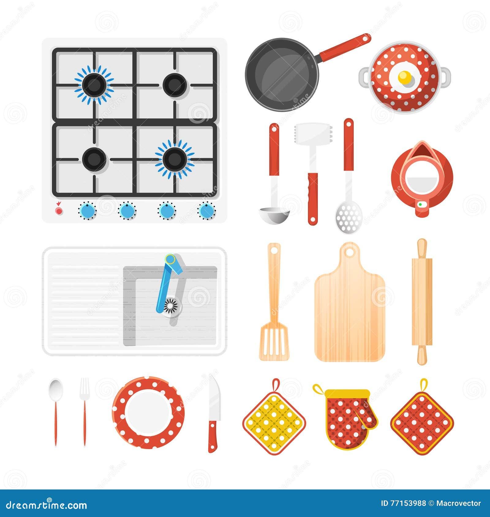 Kitchen utensils icons set cartoon vector cartoondealer for Kitchen set vector