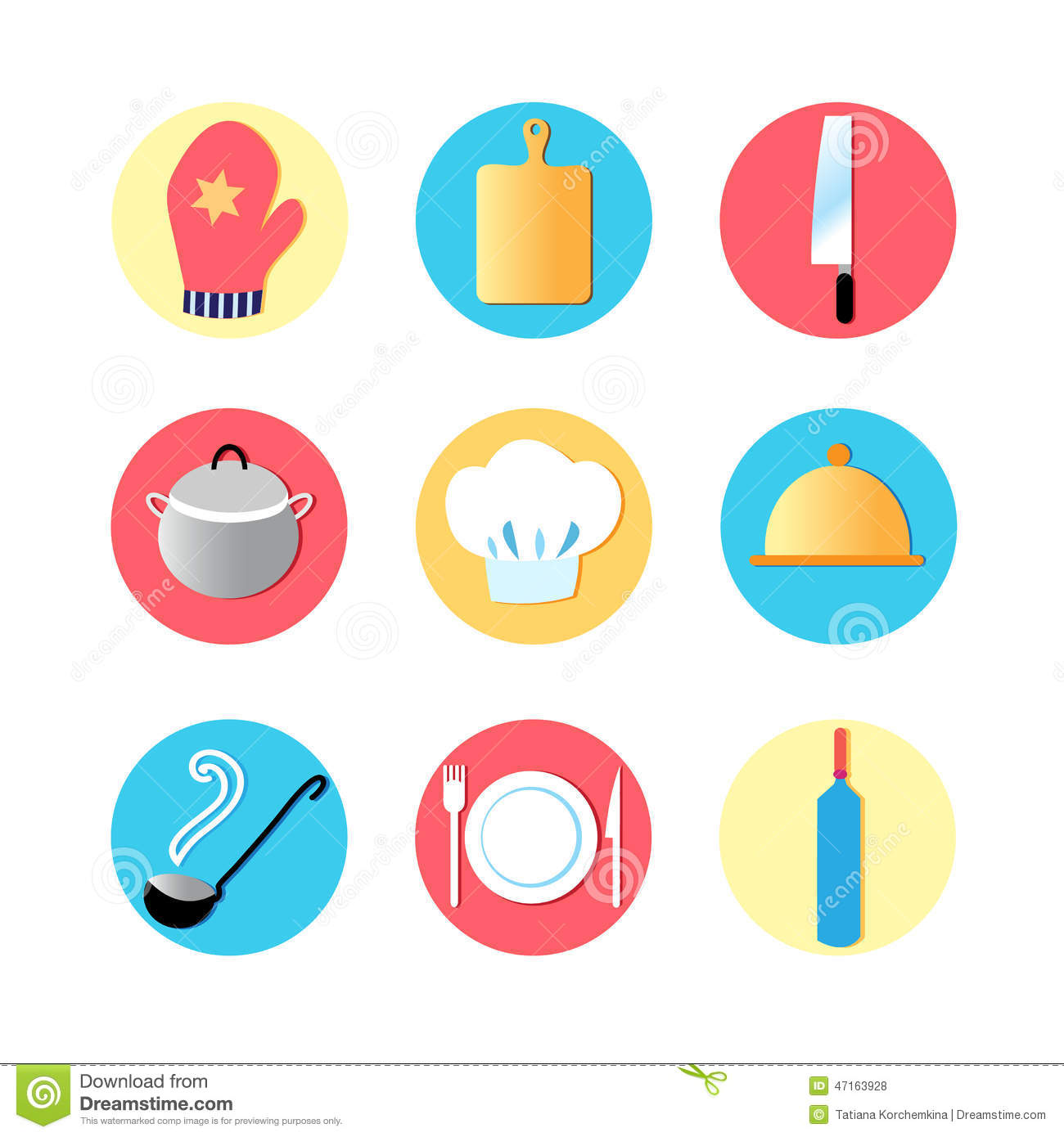 Kitchen Utensils And Kitchen Flat Icons Stock Photo Image 47163928