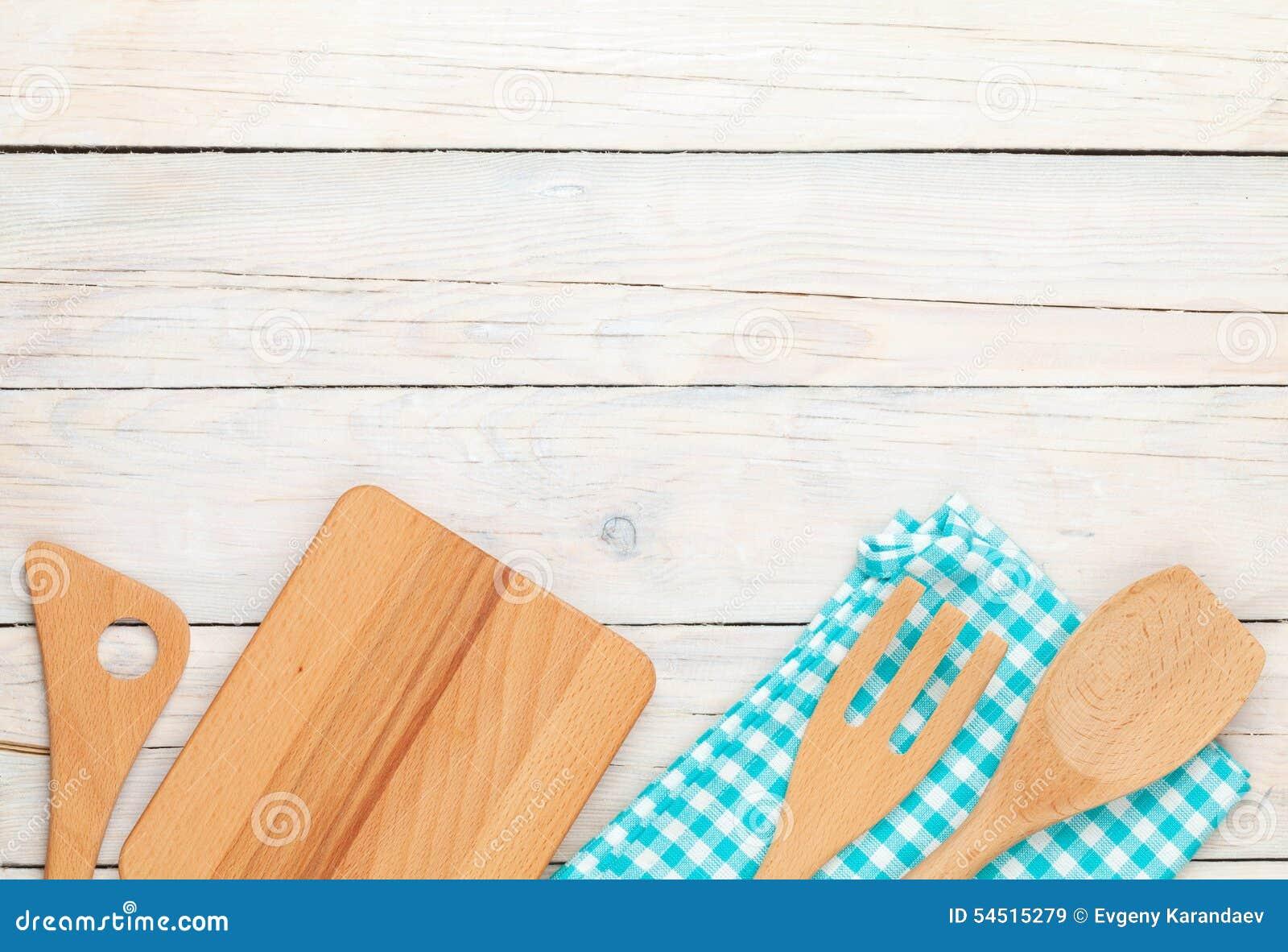 kitchen utensils background wooden kitchen utensils over white wooden table background utensils over white wooden table background stock image