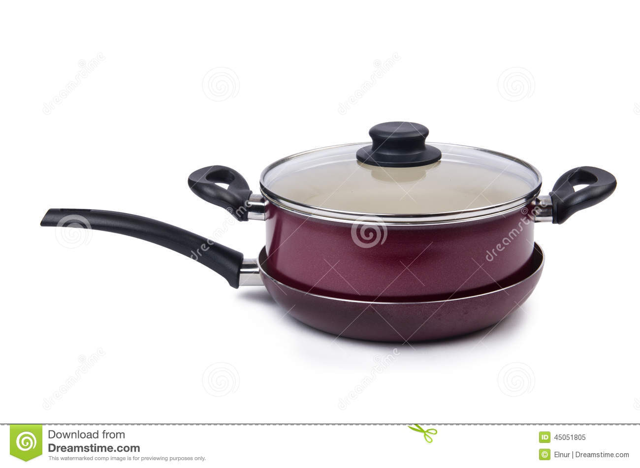 Kitchen Utensils Pan Pot Isolated Stock Image - Image of food ...
