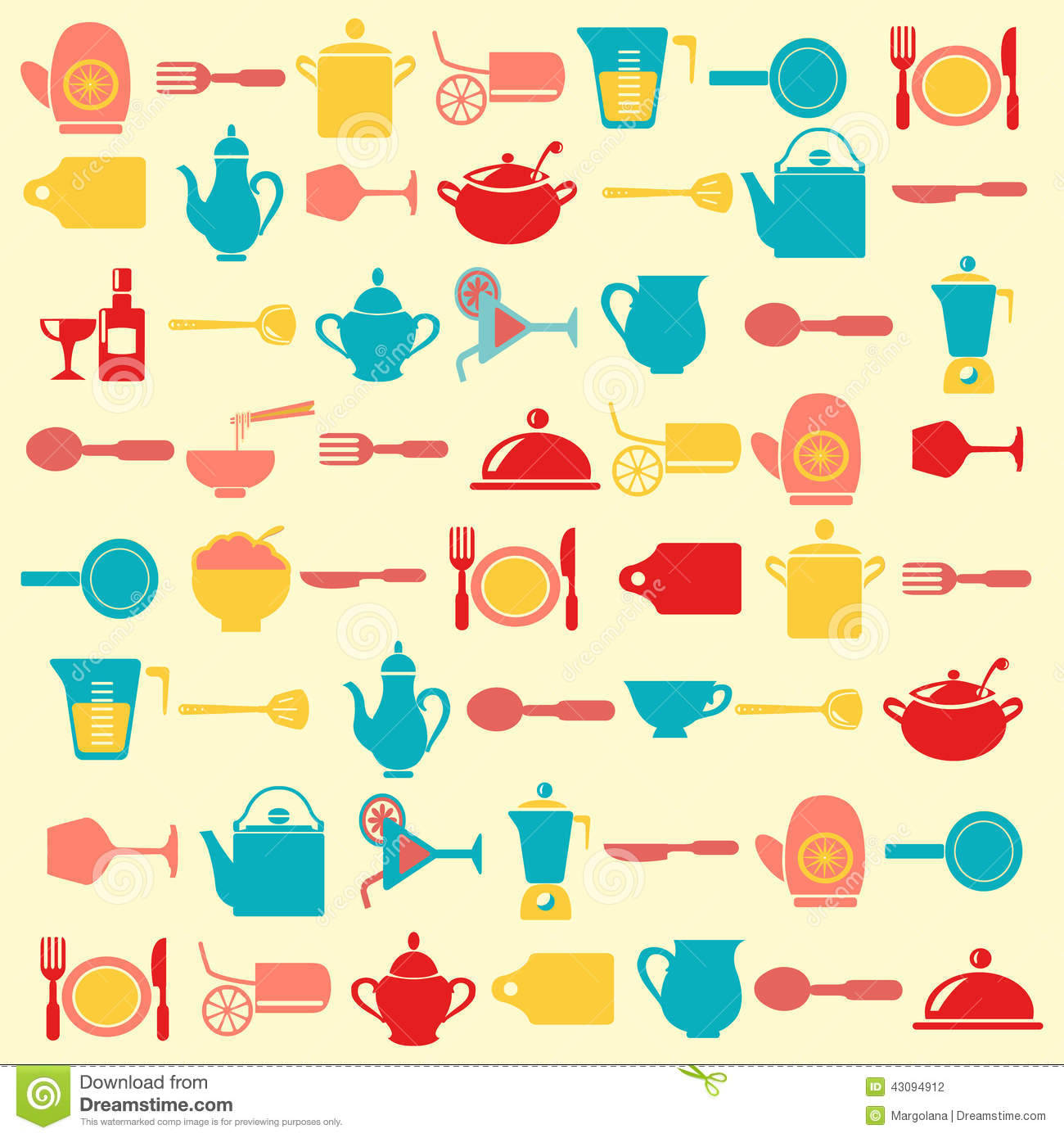 kitchen utensils pattern illustration stock illustration
