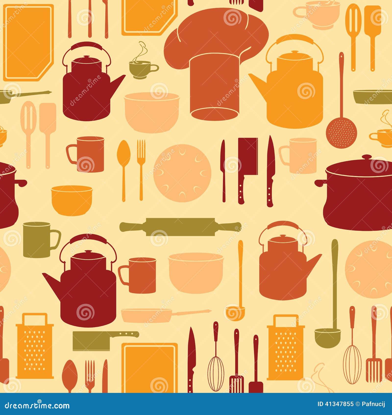 Kitchen Utensils Background: Kitchen Utensils In Seamless Background Stock Illustration