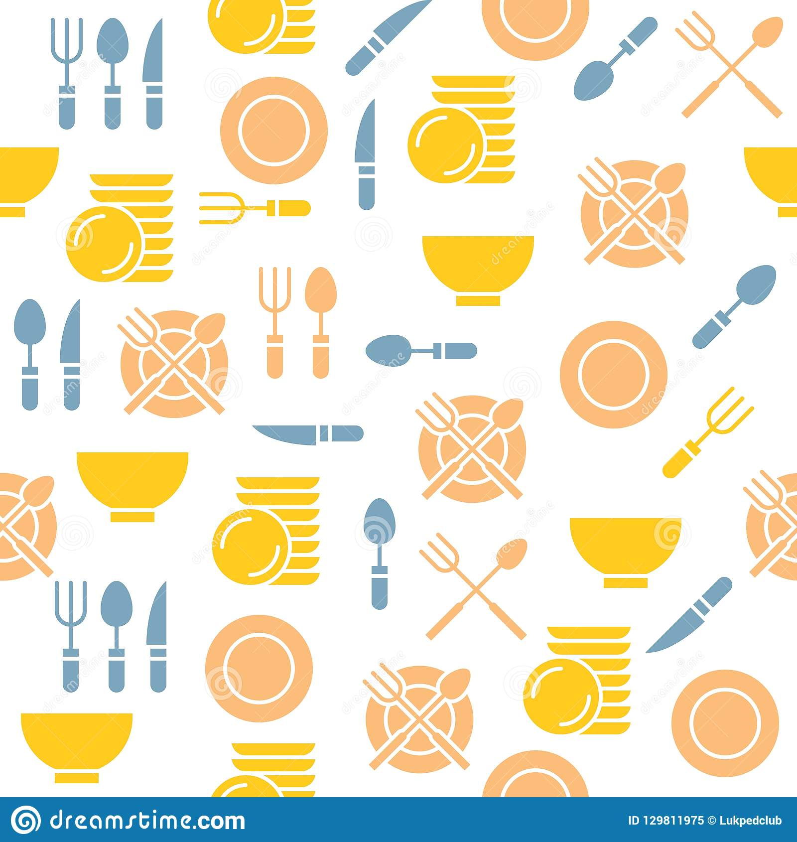 Kitchen Utensils Seamless Pattern For Wallpaper Or Print On Wrap