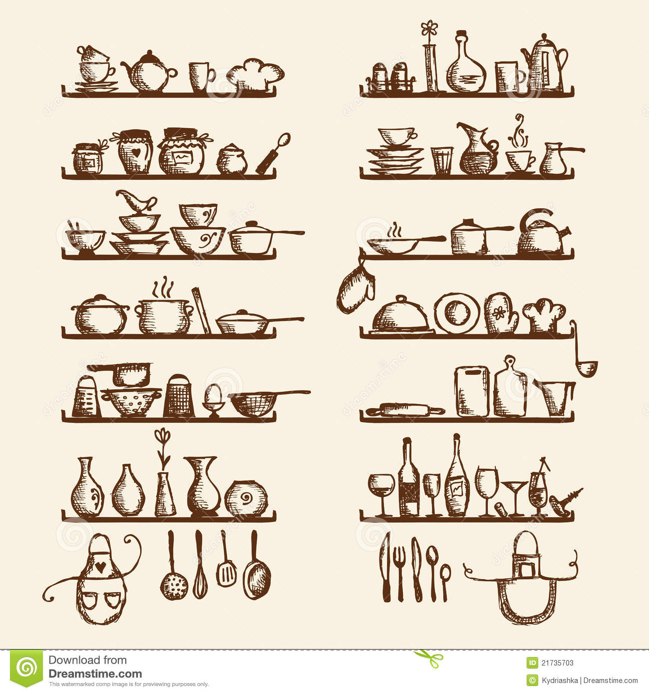 Utensils On Shelves Sketch Drawing Stock Photos Image: 21735703 #4C1E04 1300 1390