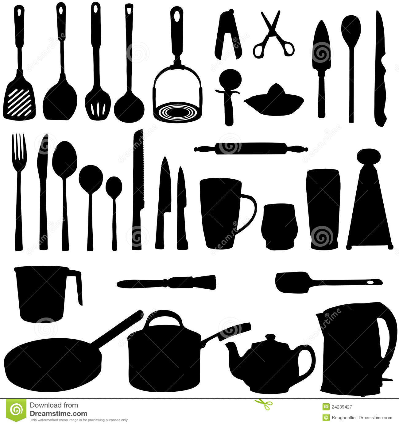 Kitchen utensils clip art pan - Kitchen Utensils Silhouette Royalty Free Stock Photography