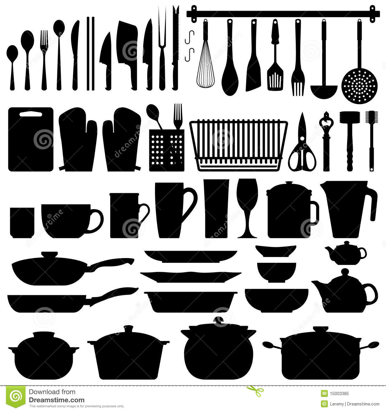 Kitchen Utensils Silhouette Vector Royalty Free Stock ...