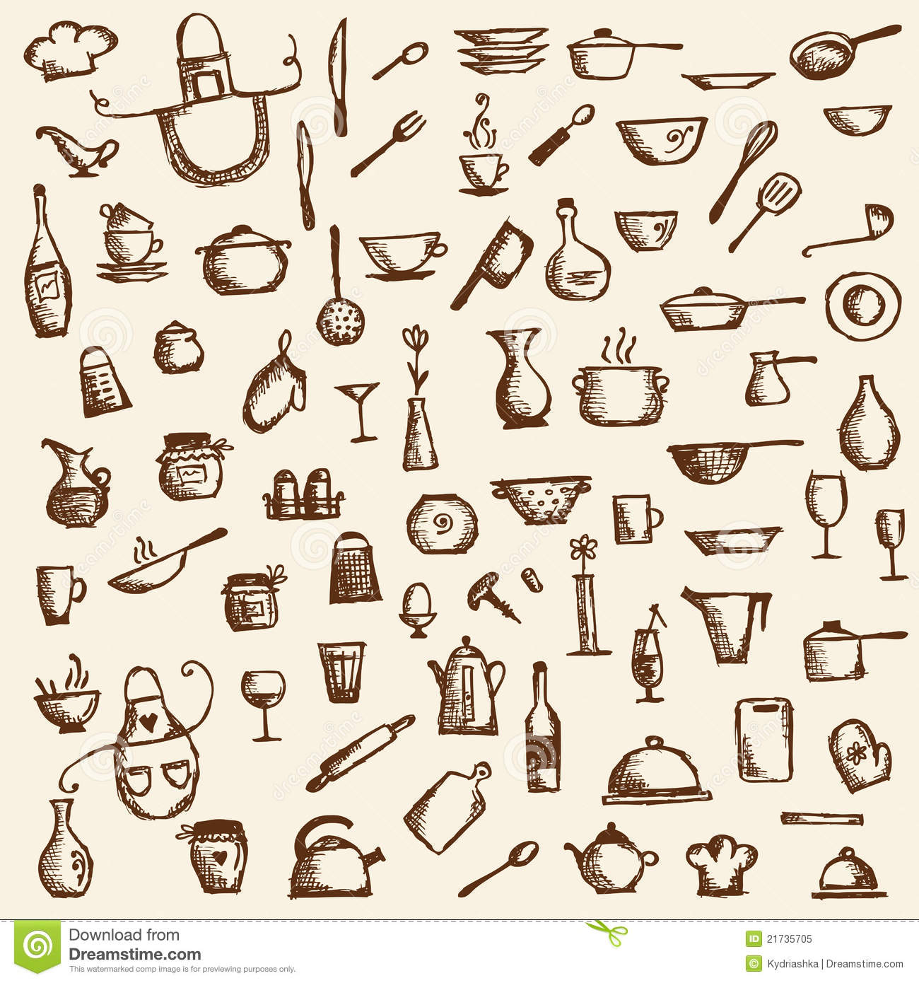 Kitchen Tools Drawing Kitchen Utensils On Shelves Sketch Drawing Stock Photos  Image