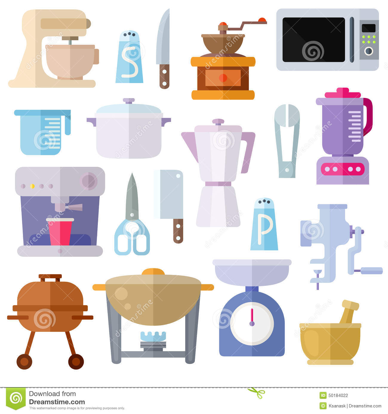 Different kitchen utensils. Colorful modern flat icons set. Isolated  #8E3D16 1300 1390