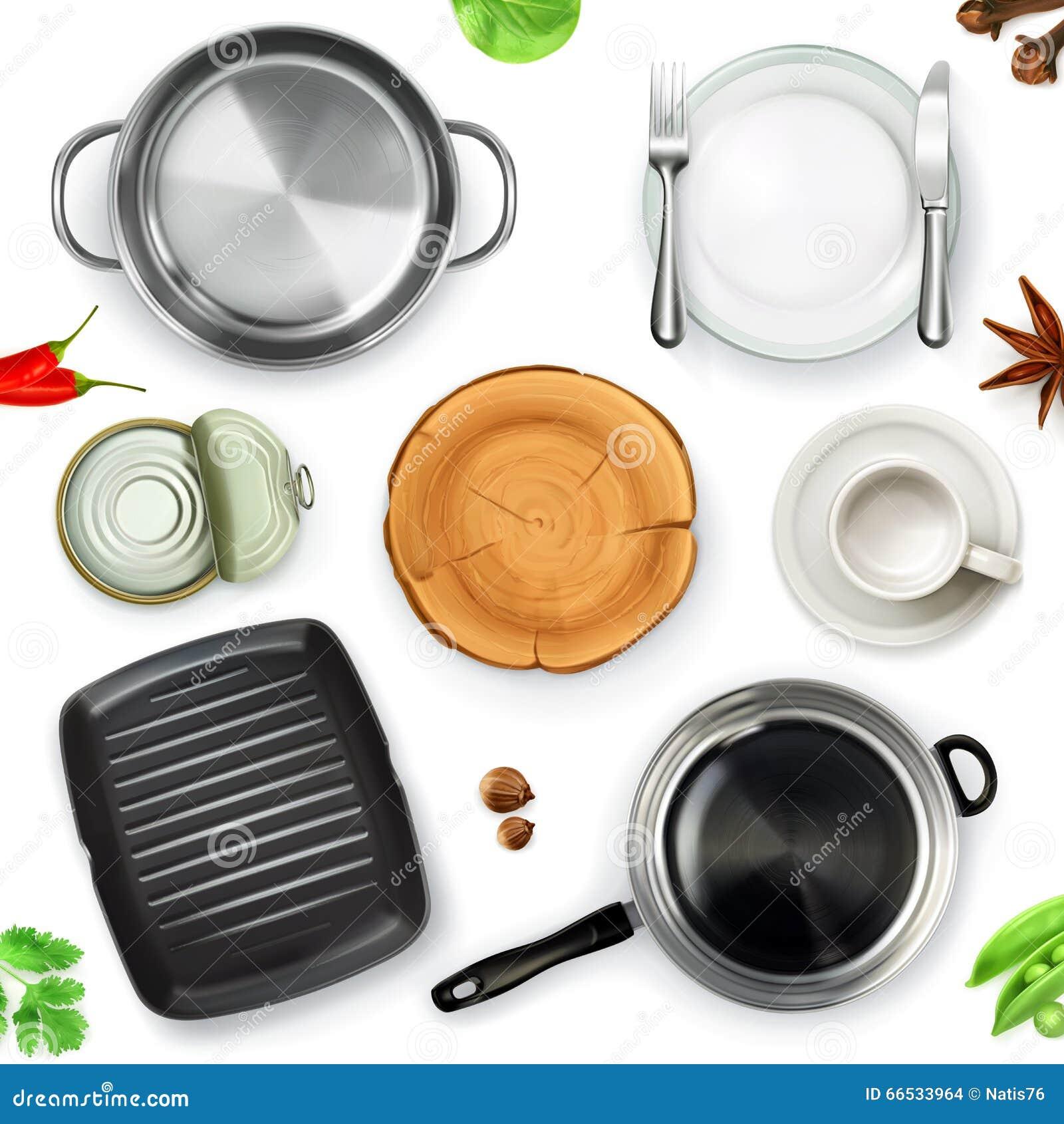 Kitchen Set Top View: List Of Kitchen Utensils A To Z. Kitchen Utensils Royalty