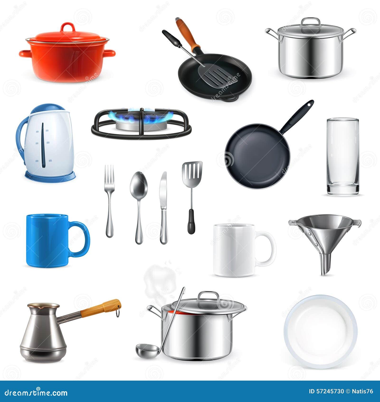 Kitchen utensils vector illustration stock vector image for Kitchen set vector