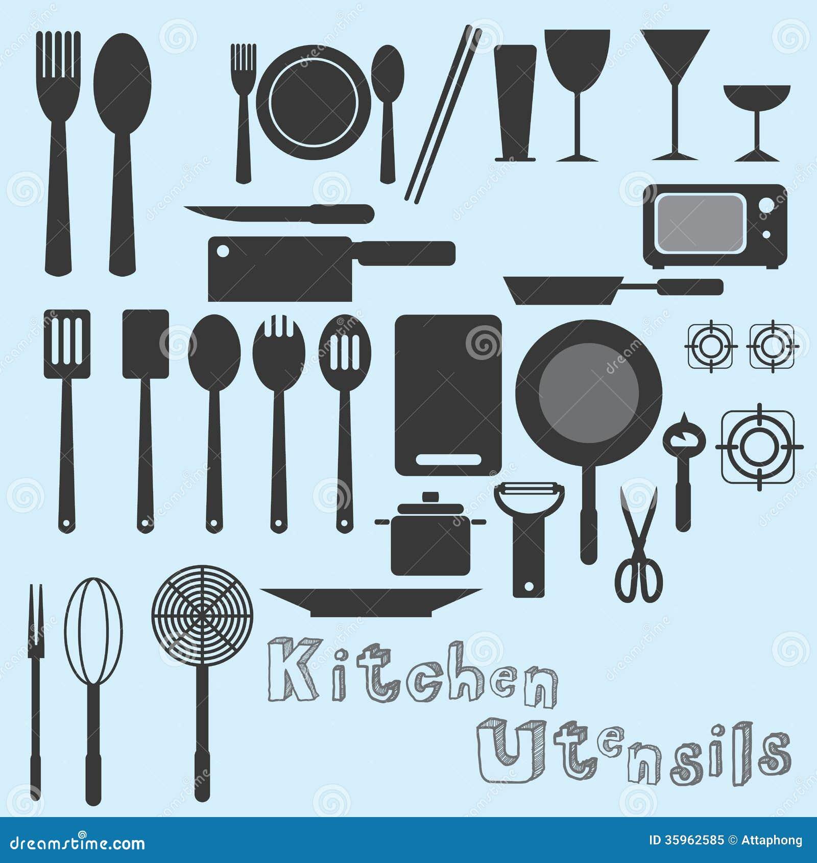 Kitchen Utensils Vector stock vector. Illustration of vector - 35962585