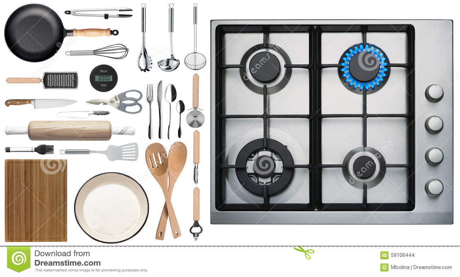 Kitchen Utensils On White Background Top View Stock Photo Image