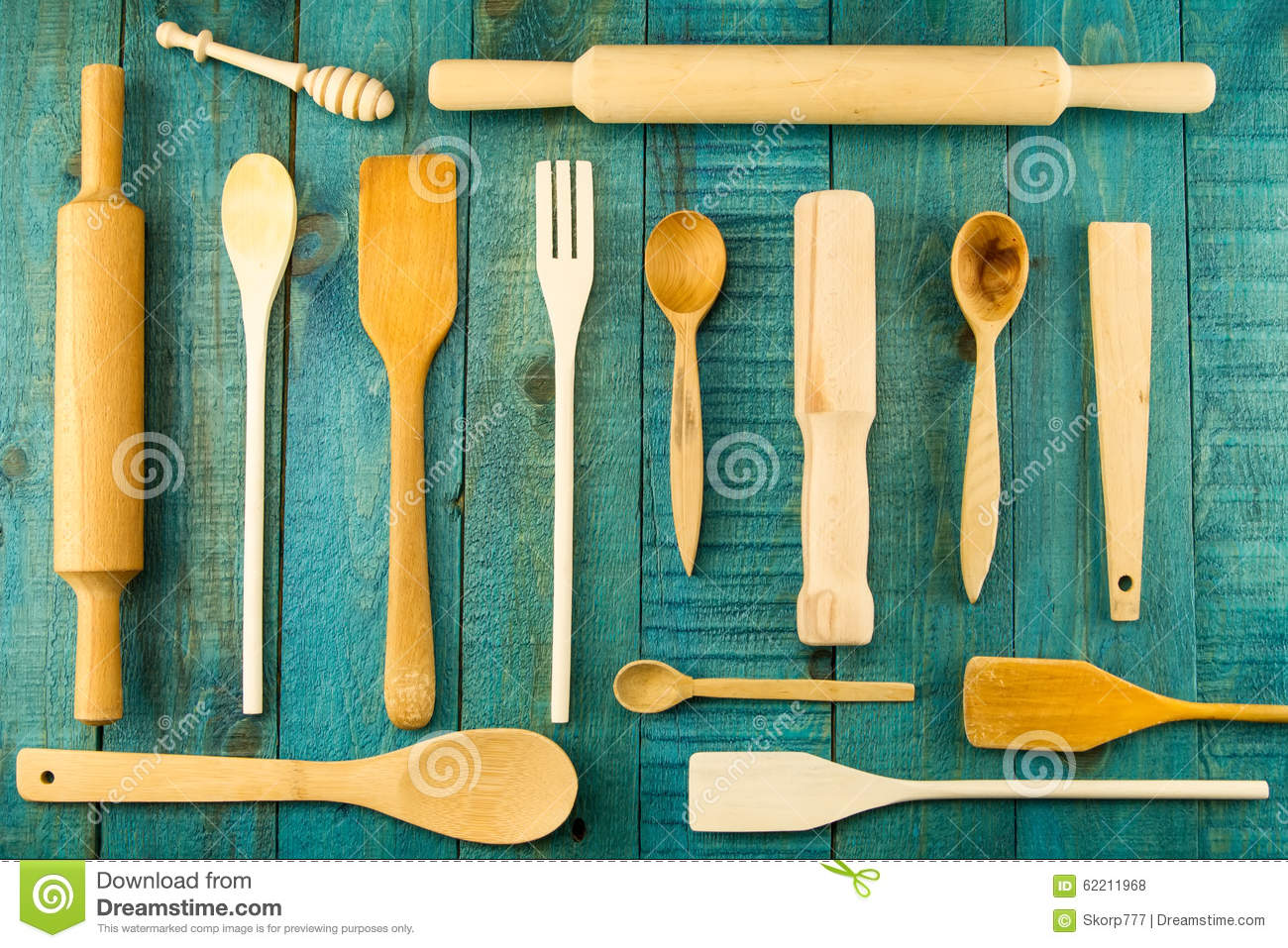 Kitchen Utensils On Wooden Background. Spoon, Mortar, Kitchen ...