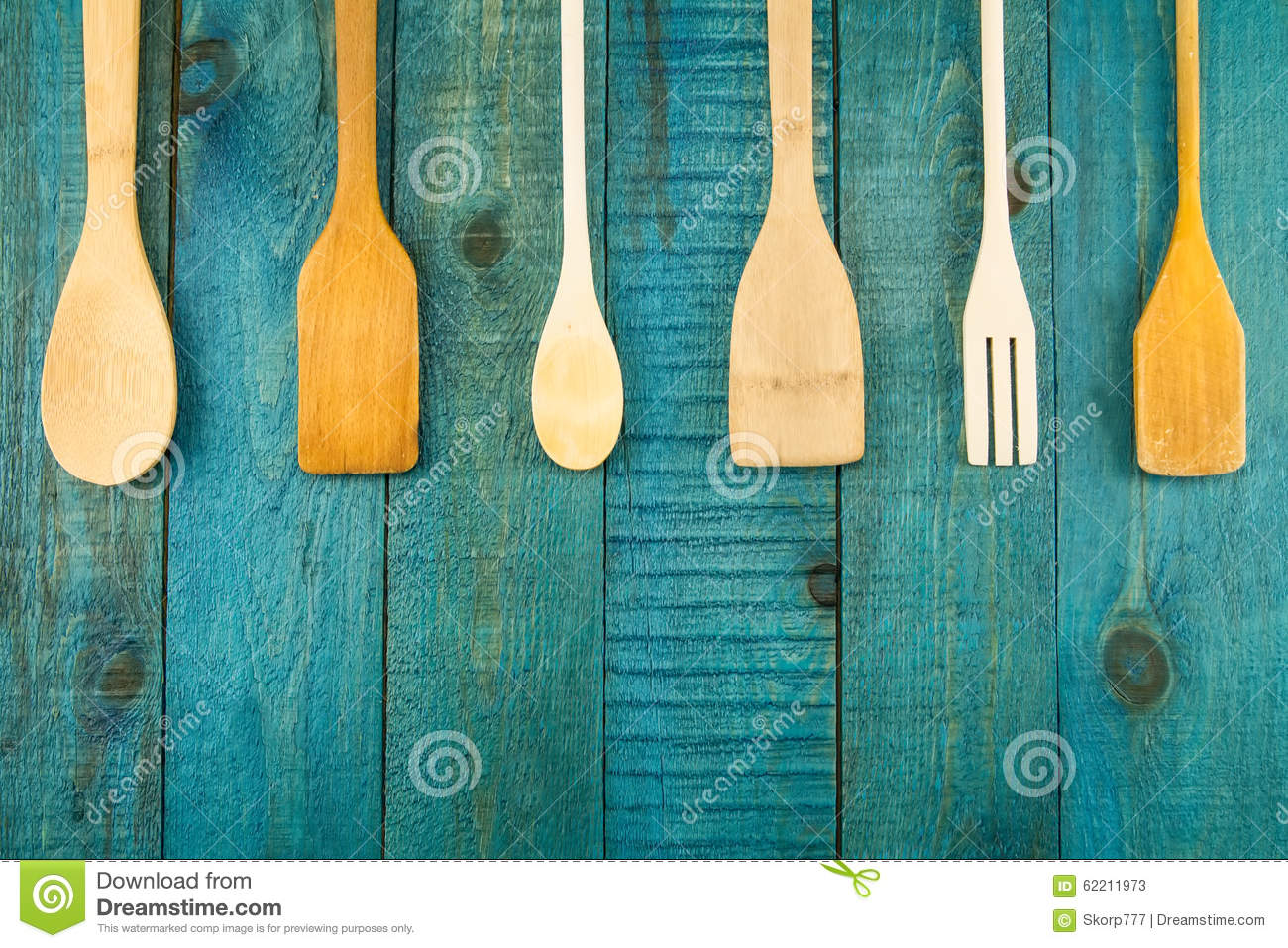 Kitchen Utensils On Wooden Background. Spoon Stock Image - Image of ...
