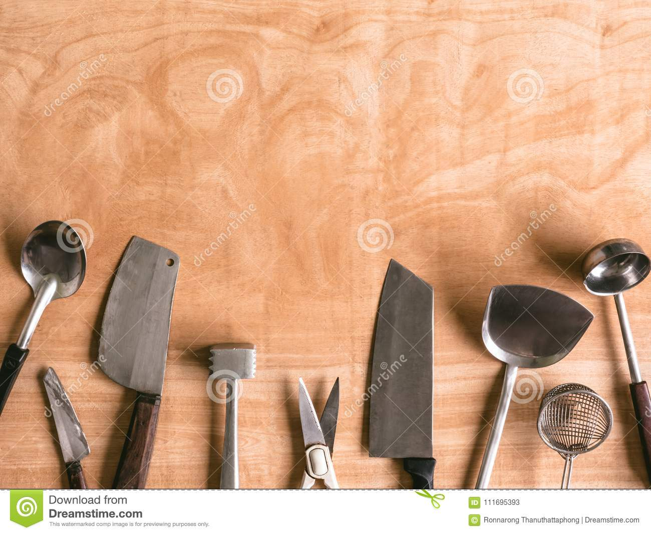 Kitchen Utensils On Wooden Table Background  Stock Image