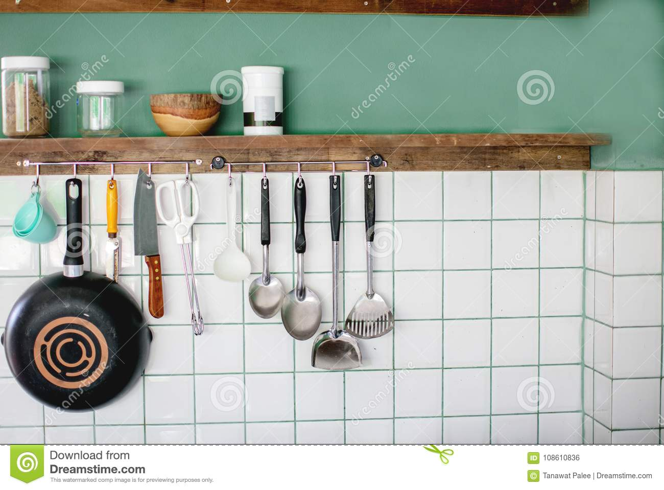Kitchen Utensils On Work Top In Modern Kitchen Stock Photo ... on ideas to hang shoes, ideas to hang mirrors, ideas to hang jewelry, ideas to hang blankets, ideas to hang plates, ideas to hang hats, ideas to hang ornaments, ideas to hang baskets, ideas to hang pots and pans, ideas to hang clothes,