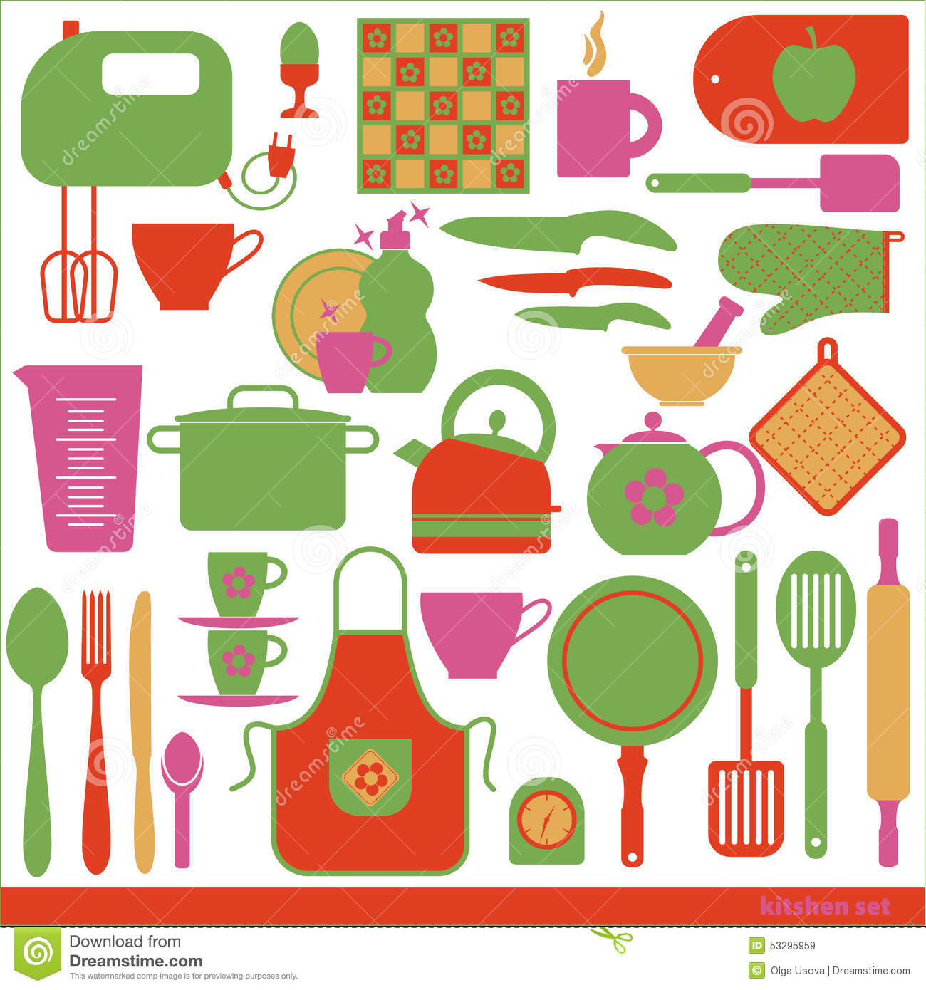 Kitchen vector background stock vector image 53295959 for Kitchen set colour