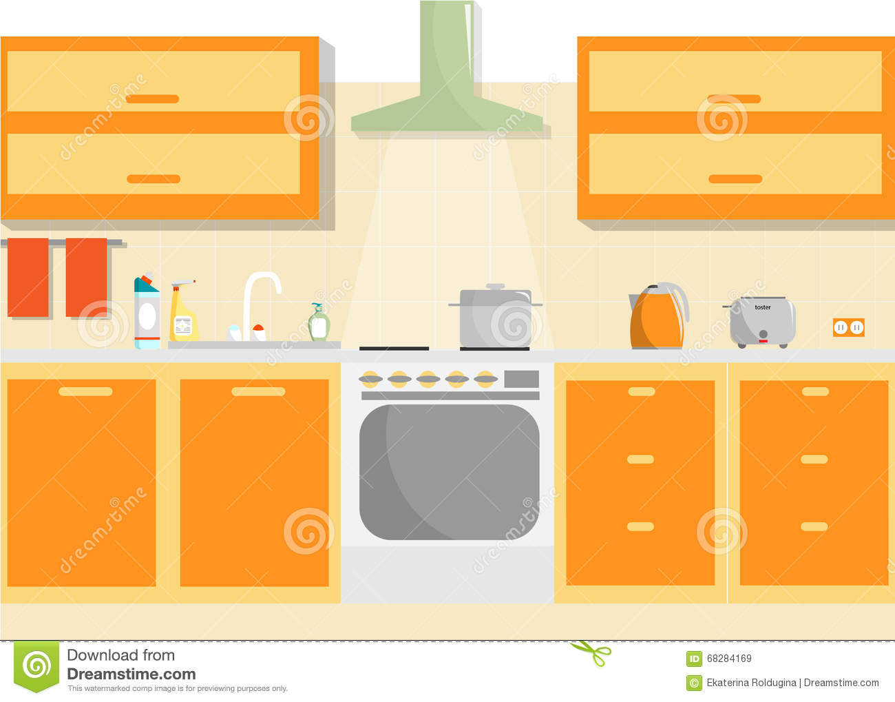 Kitchen Vector Interior With Furniture And Household Supplies Flat Minimal Illustration Stock