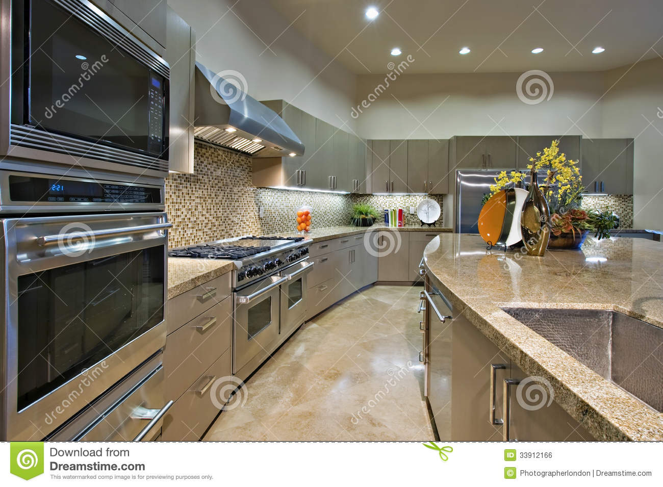 Royalty Free Stock Photo. Download Kitchen With Vent Hood Above Stainless  Steel ...